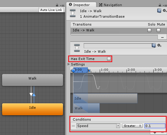 AnimatorControllerの遷移条件にSpeedを設定