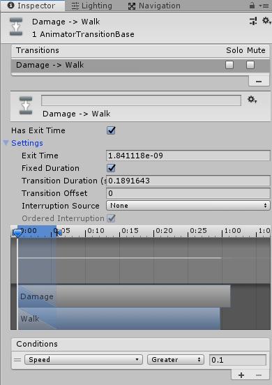 Damage→Walkの遷移条件