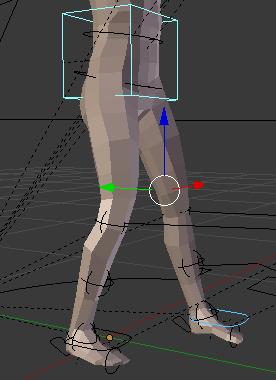 銃を構える時の重心を下げ左足を前にするアニメーション