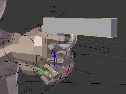 銃の簡易モデルを使って手と指の位置を調整する