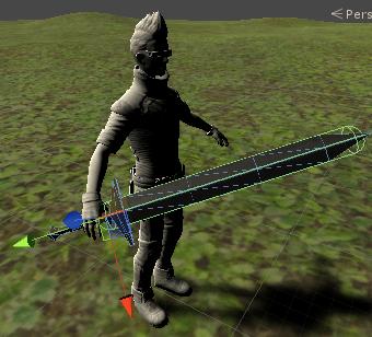 主人公の剣にコライダを設定する