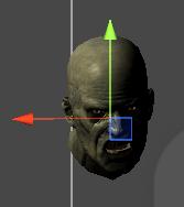 Zombieheadをメッシュの中心に移動させる