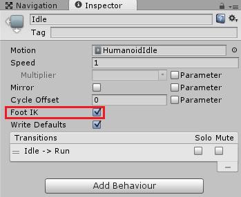 箱を持つキャラクターのIdle状態のFootIKにチェックを入れる