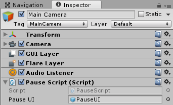 MainCameraにPauseScriptを取り付けて設定