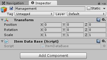 Managementゲームオブジェクトを作成しItemDataBaseスクリプトを取り付ける