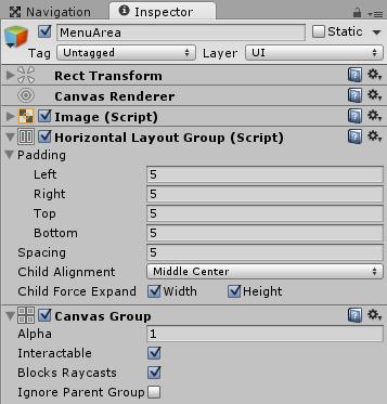 EquipWindowのMenuAreaのインスペクタ