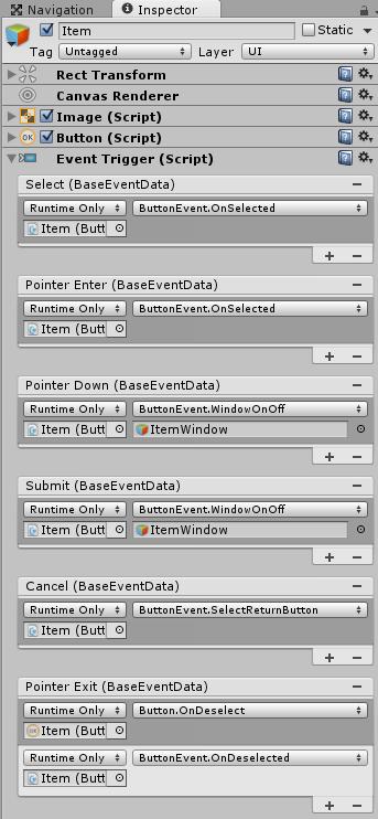 MainWindowのItemボタンを押した時のEventTrigger