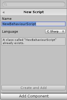AddComponentからC#スクリプトを作成する