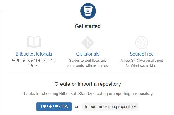 Bitbucketのリポジトリを作成ボタンを押す