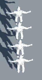 補間モード別に動かすキャラクターを配置