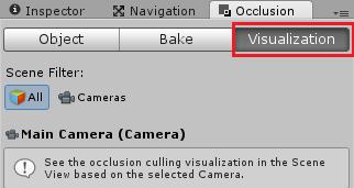 Occlusion CullingタブでVisualizeに変換