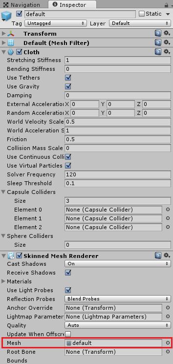 アーマーの子要素のメッシュオブジェクトにClothを追加