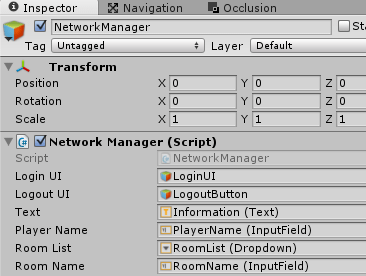 NetworkManagerのインスペクタの設定