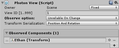 Observed ComponentsにTransformを設定