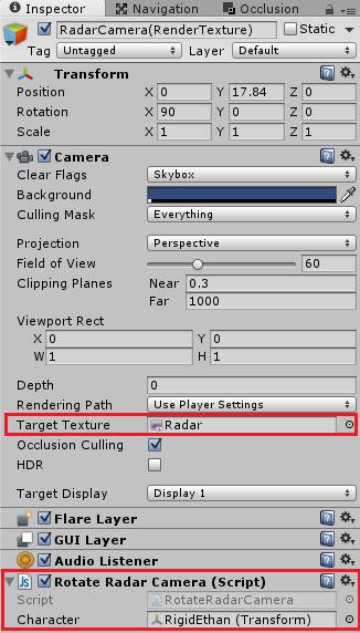 カメラにレンダーテクスチャを設定する
