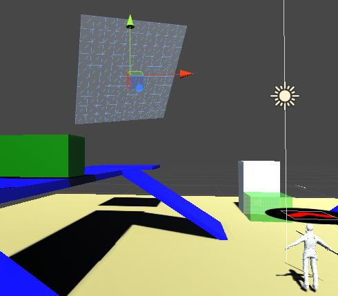Planeの位置と向きを変えキャラクターから見えるようにする
