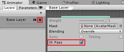 AnimatorのIK Passにチェックを入れIKを有効にする