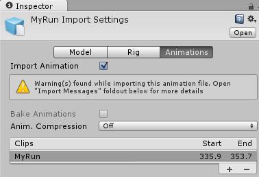AnimationClipのインスペクタ
