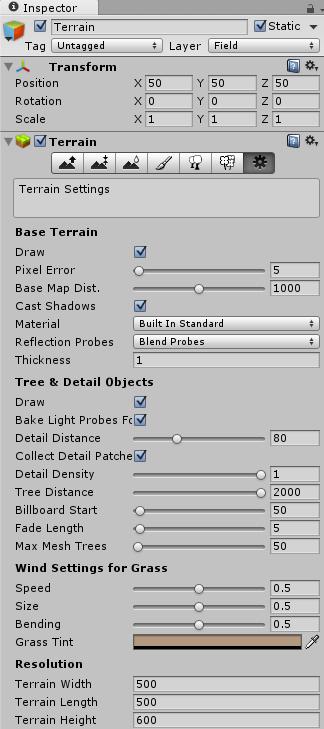 ゲームオブジェクトを配置するTerrainのインスペクタ