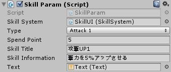 SkillParamのインスペクタの設定