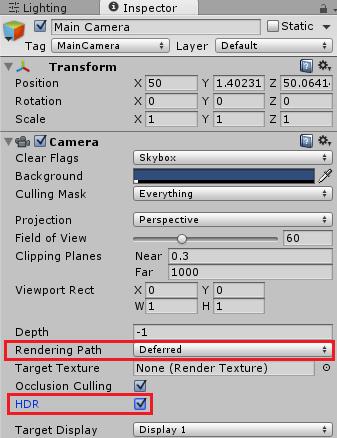 Tonemappingを使用する為にカメラの設定を変える