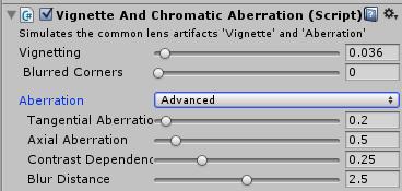 VignetteAndChromaticAberrationのインスペクタ