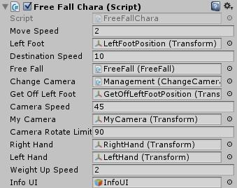 FreeFallCharaスクリプトのインスペクタの設定
