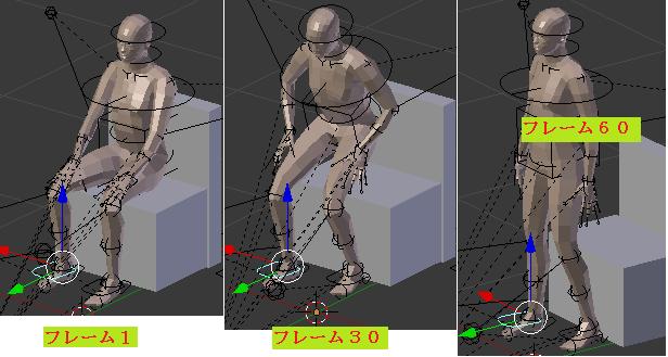 椅子から立ち上がるアニメーションのフレーム毎のポーズ