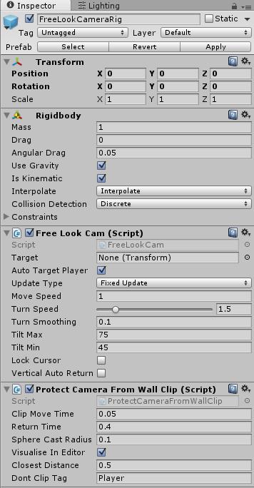 FreeLockCameraRigのインスペクタ