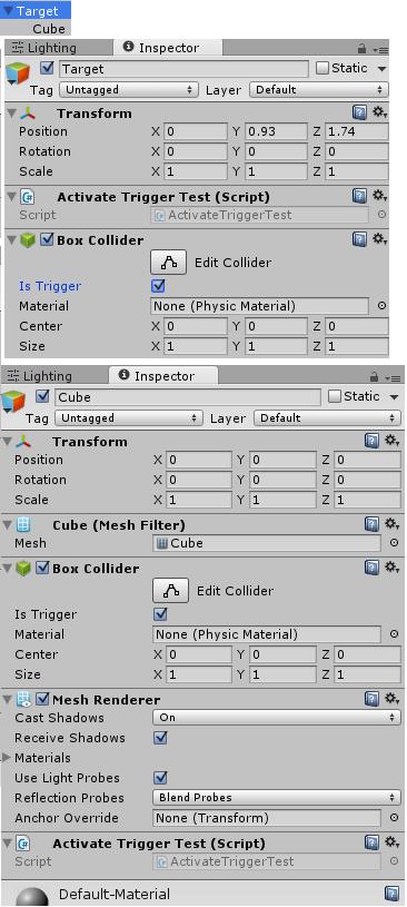 相手方のゲームオブジェクトの構成とインスペクタ