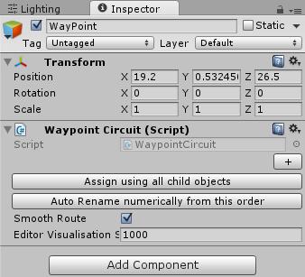 WaypointCircuitのインスペクタ