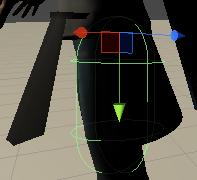 足のボーンに設定したコライダの形