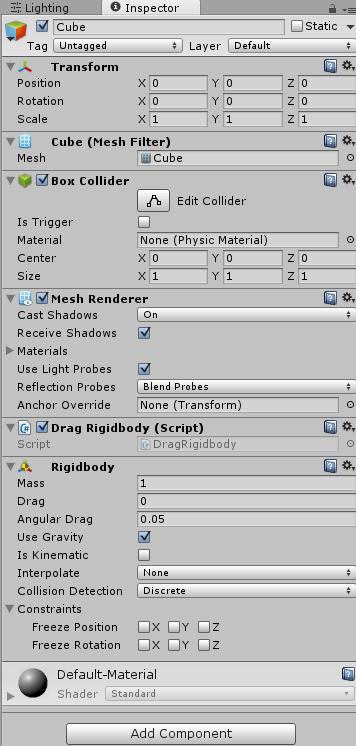DragRigidbodyを取り付けたゲームオブジェクトのインスペクタ