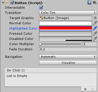 ButtonのHighlighted Colorを赤色に変更