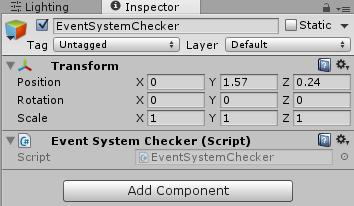 空のゲームオブジェクトにEventSystemCheckerを取り付けた状態