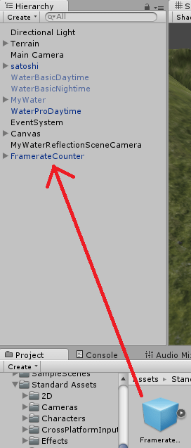 FramerateCounterを設置