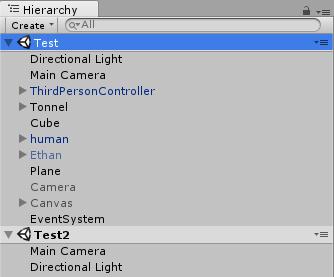 ヒエラルキーに複数のシーンが配置される