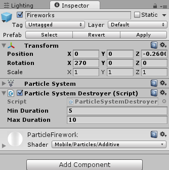 ParticleSystemDestroyerを取り付ける