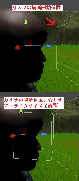 カメラの開始位置に合わせてコライダを調整