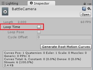 AnimationのLoop Timeのチェックを外し繰り返し再生しない