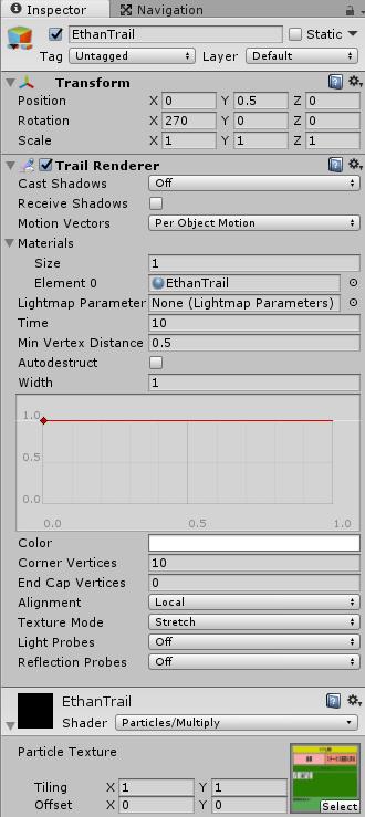 キャラクターの軌跡を描くTrailRendererの設定
