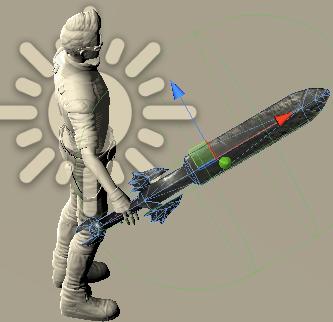 UnityNetworkキャラクターが武器を持った図