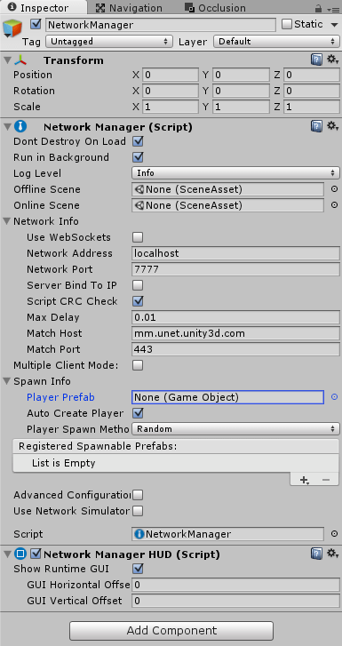 UnityNetwork用のNetworkManagerのインスペクタ