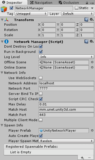 NetworkManagerのPlayerPrefabにプレイヤーキャラクターを設定