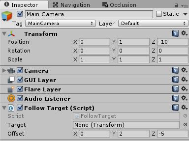 UnityNetworkのメインカメラにFollowTargetを取り付ける