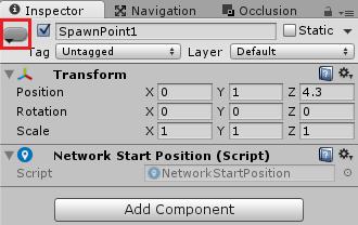 NetworkStartPositionコンポーネントを取り付け