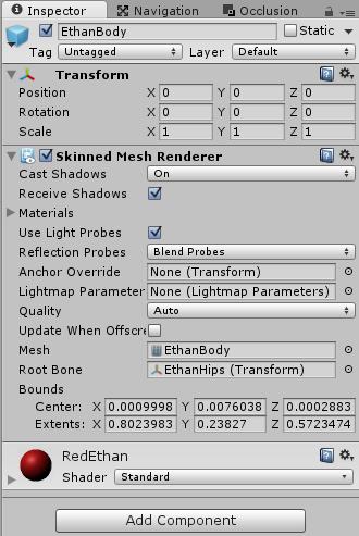 RedEthanの体モデルに赤いマテリアルを設定