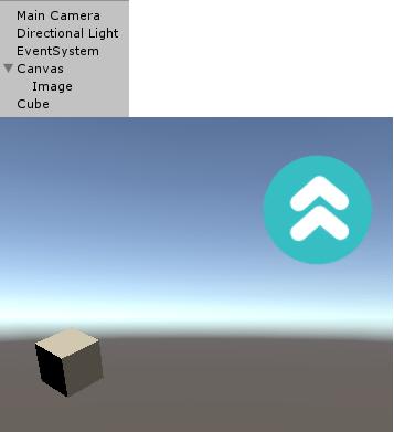 CubeとImageにEventTestを設定