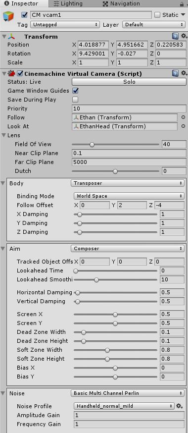 キャラクターを追いかける仮想カメラの設定