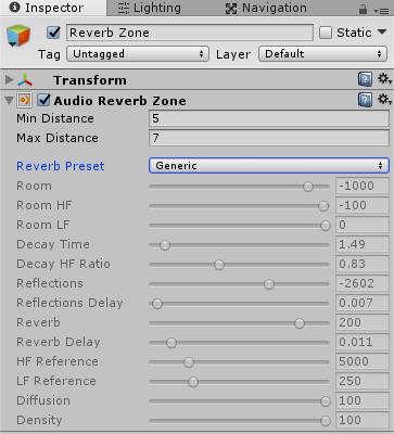 ReverbZoneのインスペクタ